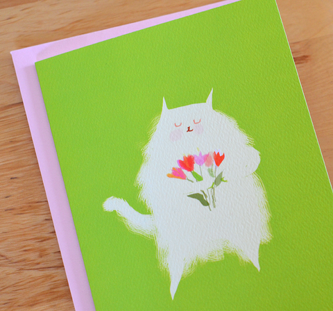 Fluff with Tulips Cat Card