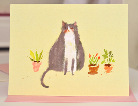 Spring Plants Cat Card