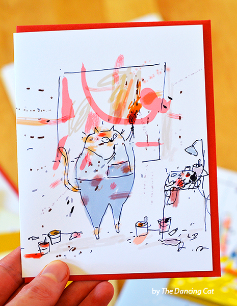 Studio Cat Card 1 - The Artist