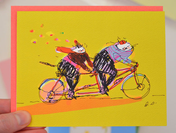 Tandem Cats - Bike Card