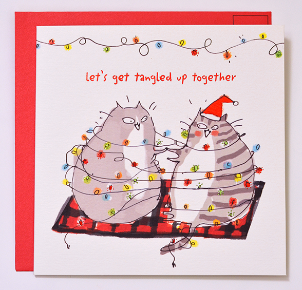 Let's Get Tangled Up Together- Christmas Cat Card