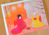 Japanese Tea Ceremony Cat Card