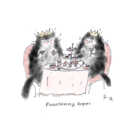 Puuurfectly Royal - Tea Party Cats - Cat Art - Royal Wedding