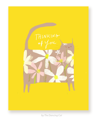 Thinking of You - Flower Cat Card