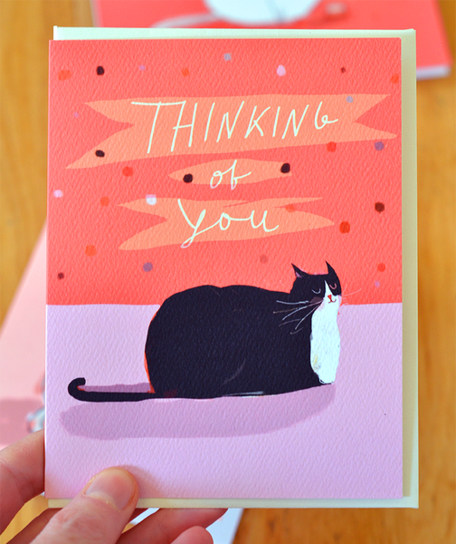 Thinking of You- Tuxedo Cat Card
