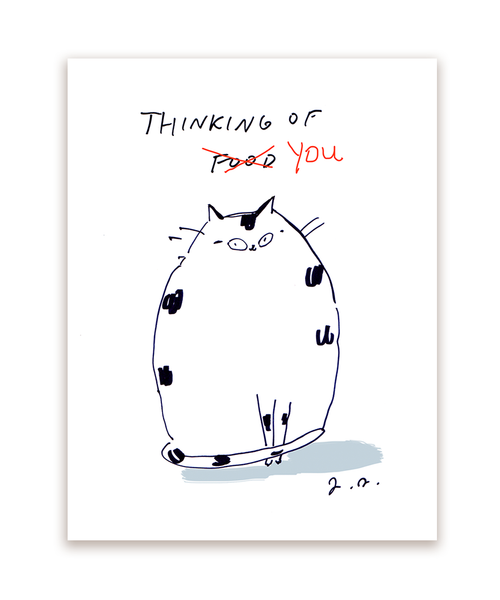 Thinking of You/Food Cat Card- White