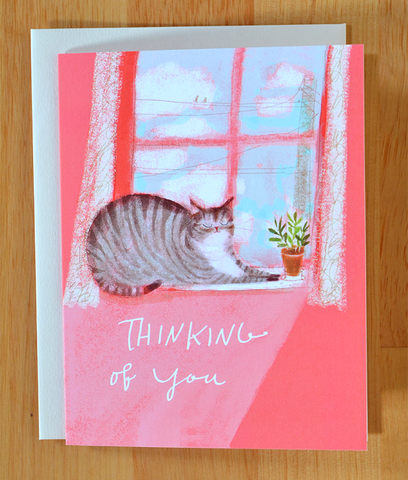 Thinking of You- Window Cat Card