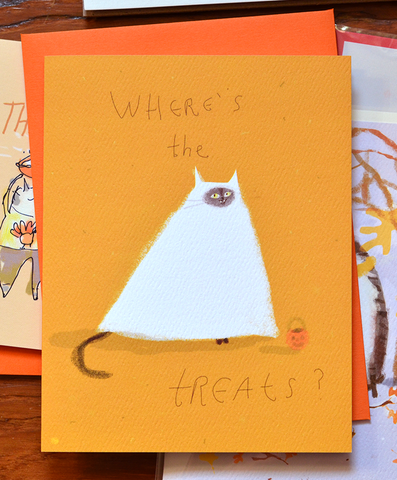 Where's the Treats- Halloween Cat Card