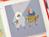 Trick o' Treat Cat Card - Chicken and Clown - Square Card