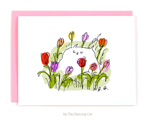 Happy Tulip Cat Card