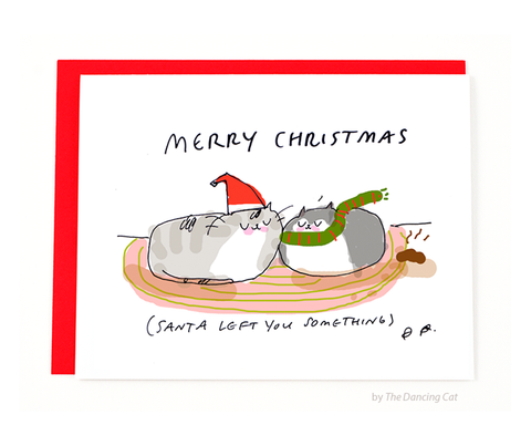 Funny Christmas Card- Cat Christmas Turd Card
