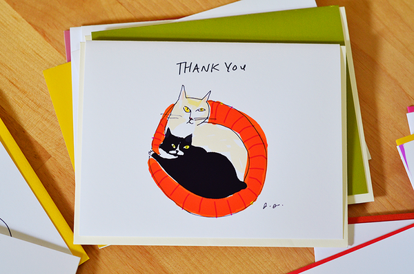Thank You Cat Card- Cat Bed- Thank You Card