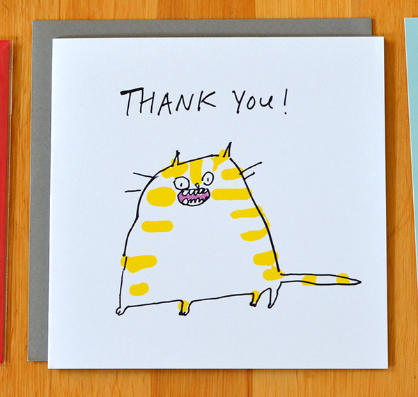 Thank You Card- Ginger Cat- Square Card