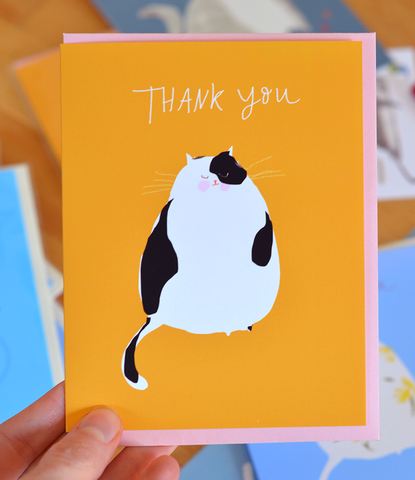 Thank You Cat Card - Black & White Cat