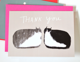 Double Cat Thank You Card - Mini Card