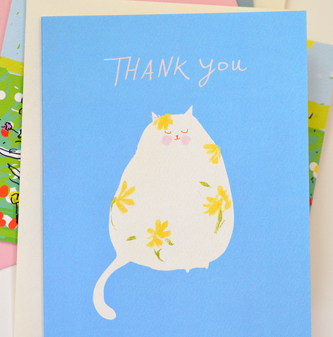 Flower Cat Thank You Card