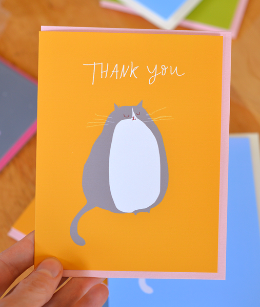Thank You Cat Card - Grey & White cat