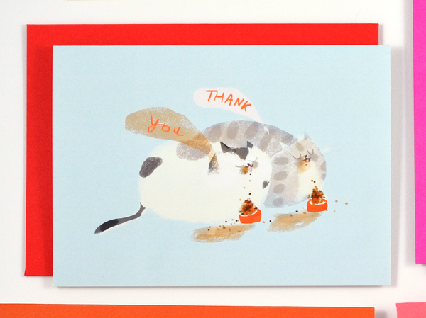 Thank You Cat Bowls - Mini Card