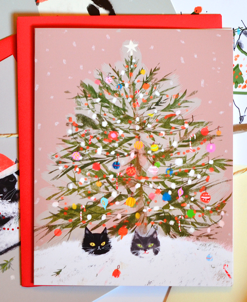 Christmas cat Card - Under the Christmas Tree