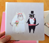 LARGE Card- Wedding Cat Card - Bride & Groom