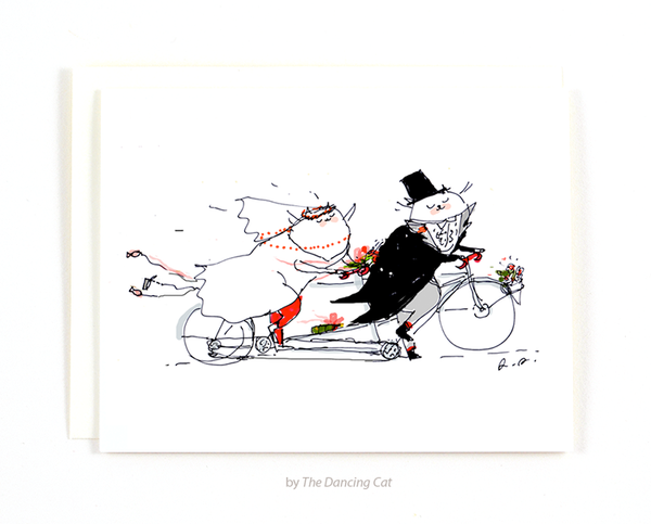 Bike Wedding Cat Card - Tandem Cats