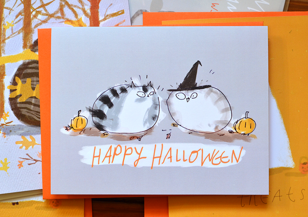 Happy Halloween- Witch Hat - Cat Card