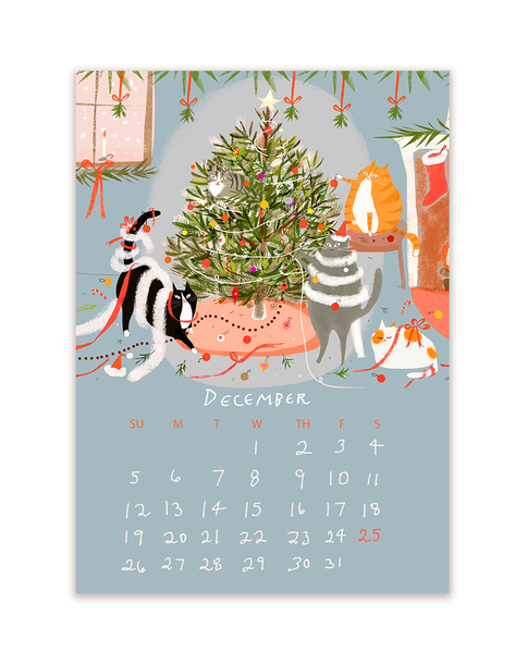 2021 Dancing Cat Calendar-Single Sheet