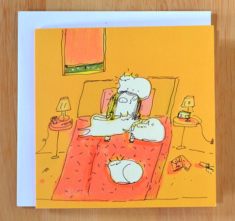 2 AM - Cat Lady Card - Square Card
