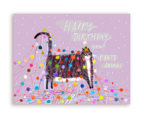 Happy Birthday You Party Animal 2 - Cat Card