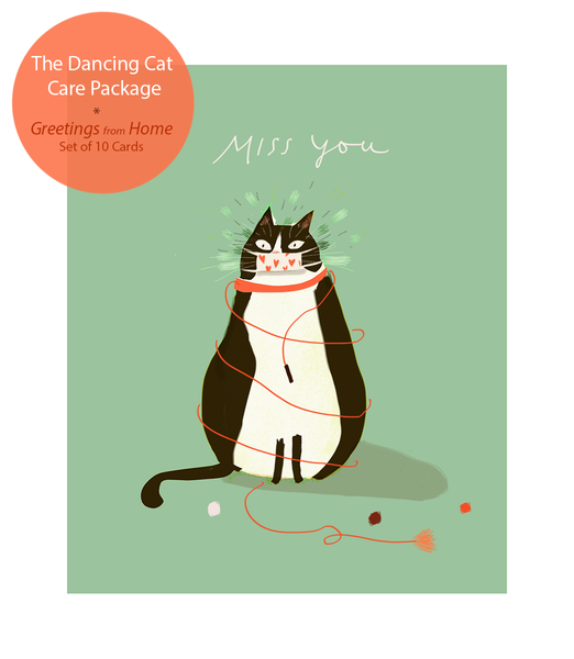 Greetings from Home- The Dancing Cat Care Package - Set of 10 Cards