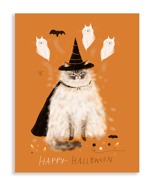 Happy Halloween Kitty Card- Magic Fluff