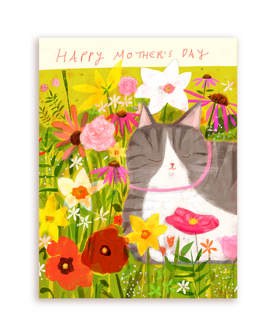 Happy Mother's Day Cat Card- Flower Baby