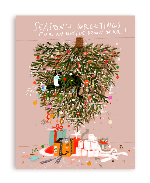 Season's Greetings for an Upside Down Year- Christmas Cat Card