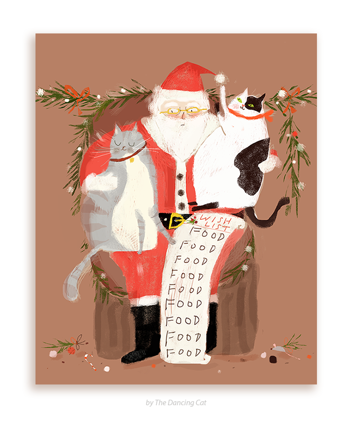 Christmas Cat Card All I Want For Christmas Is Food The