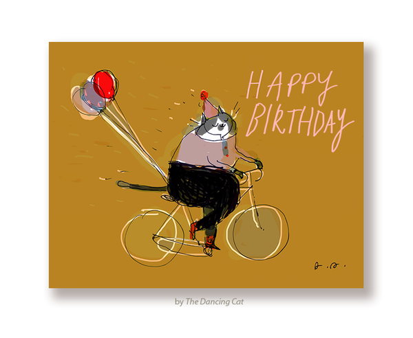 Happy Birthday Bike Cat Card