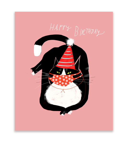 Happy Birthday Kitty Mask Card