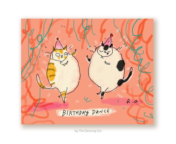 Birthday Dance - Cat Birthday Card