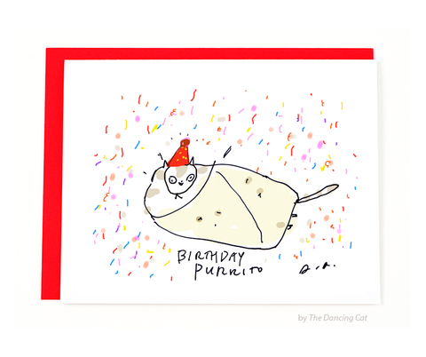 Birthday Purrito Funny Cat Card