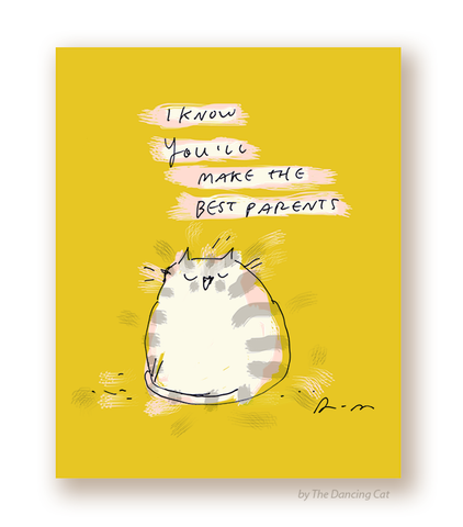 New Baby Card - You'll Make the Best Parents - Cat