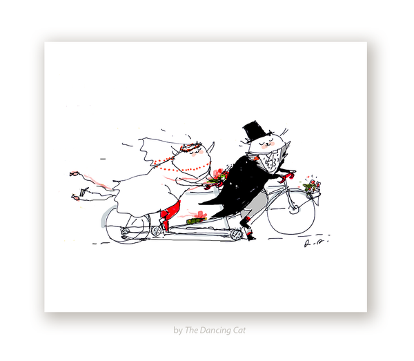 Wedding Bike Cat Print