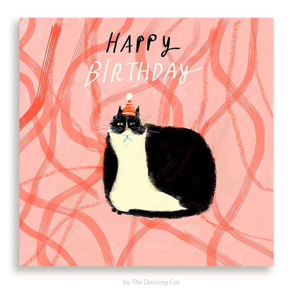 Birthday Tux Cat Card- Square Card