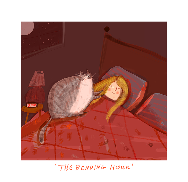 The Bonding Hour - Cat Print - Custom Colors