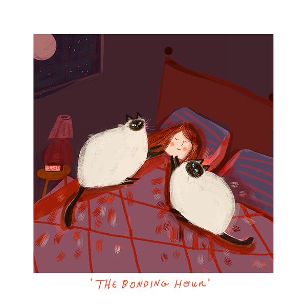 The Bonding Hour - Cat Print- Siamese Cats
