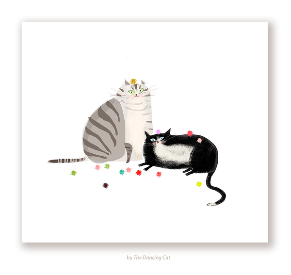 Party Balls - Cat Print - Grey & Tux
