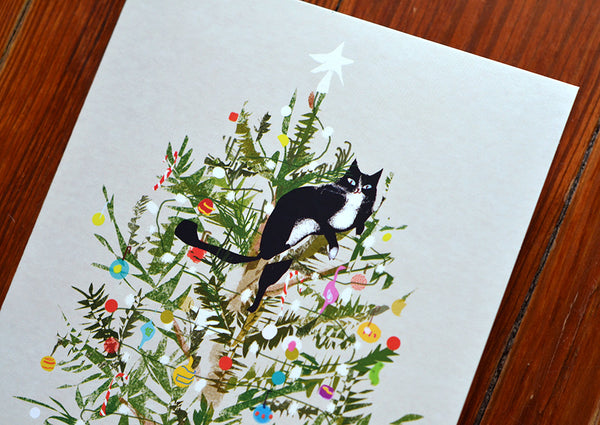 Christmas Tree Cat Card - Large Card