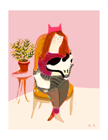 Cat Lady Fine Art Print - Pink Hat