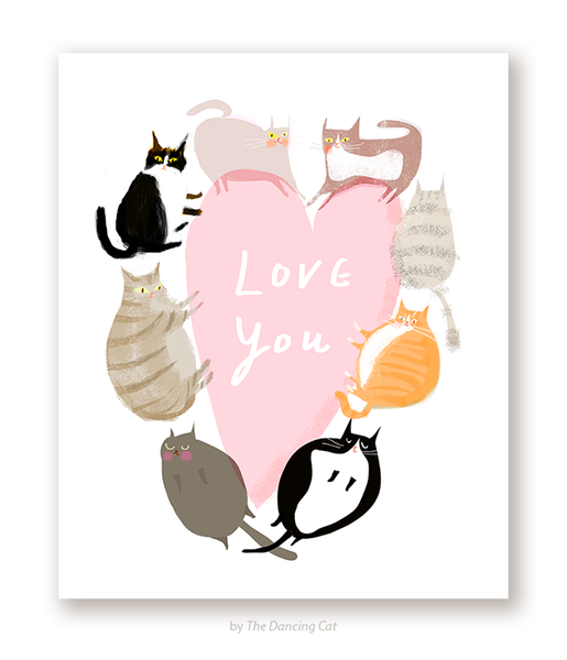 Big Heart Cat Card