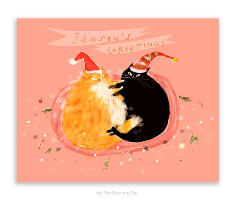 Season's Greeting- Christmas Cuddle - Cat Card