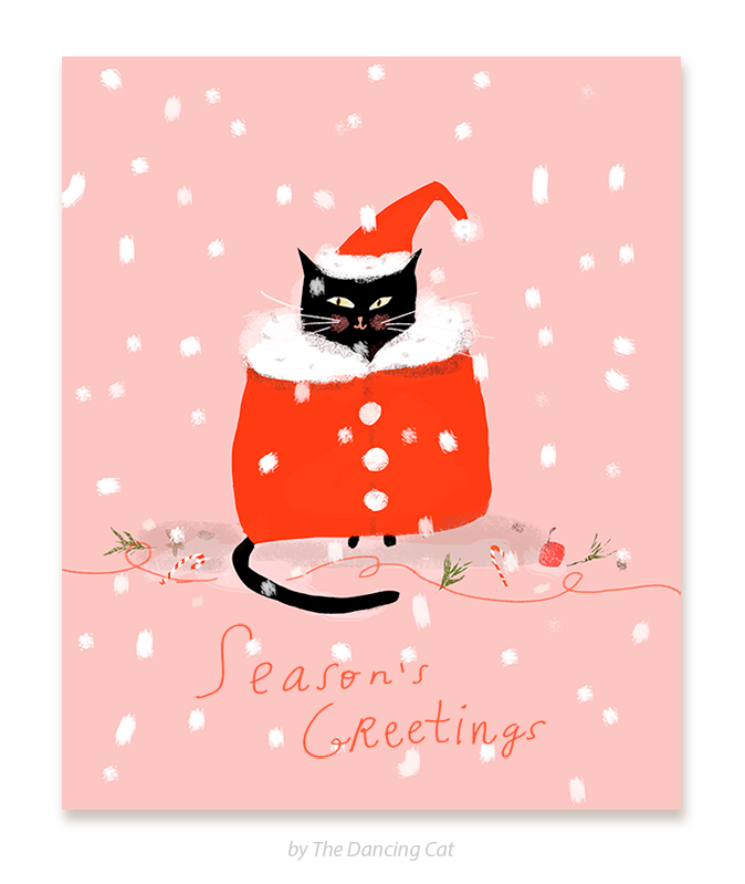 santa cat season s greetings christmas cat card the dancing cat