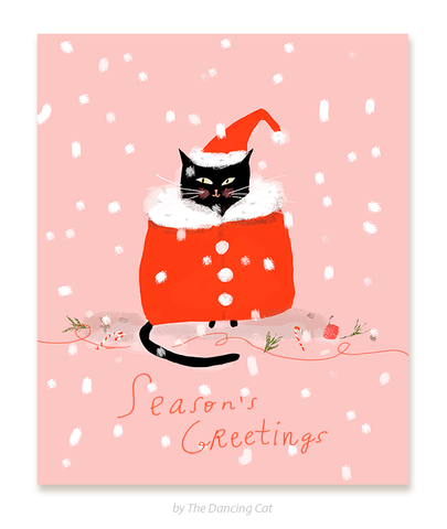 Santa Cat - Season's Greetings - Christmas Cat Card
